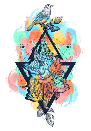 Birds and flowers rose color tattoo and t-shirt design boho art. Beautiful flowers in geometrical style, color tattoo for women