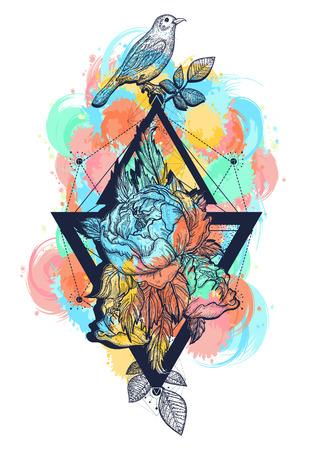 鳥と花ローズ色のタトゥーと t シャツ デザイン自由奔放に生きるアート。幾何学的なスタイル、女性のための色の入れ墨の美しい花