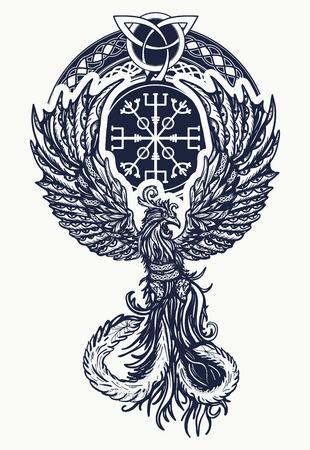매직 히트 새들의 문신과 티셔츠 셀틱 디자인. 부흥, 중생, 삶과 죽음의 상징. 피닉스 새 문신 켈트 스타일 일러스트
