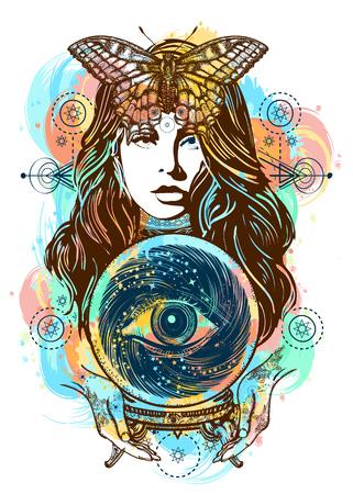Schöne Hexenfrauen-Farbtätowierung und T-Shirt entwerfen. Magische Frauenkunst. Wahrsagerin, Kristallkugel, Mystik und Magie. Alles sehende Auge der Zukunft. Okkultes Symbol der Schicksalsvorhersagen