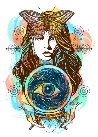Beautiful witch woman color tattoo and t-shirt design. Magic woman art. Fortune teller, crystal ball, mystic and magic. All seeing eye of future. Occult symbol of the fate predictions Illustration