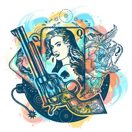 Revolver, cartes à jouer, belle fille, art de tatouage de bombe. Casino, antécédents criminels, gangster mafia. Cartes à jouer vintage, roses, conception de t-shirt de pistolet. Conception de tatouage et de t-shirt du Far west Banque d'images - 89056730