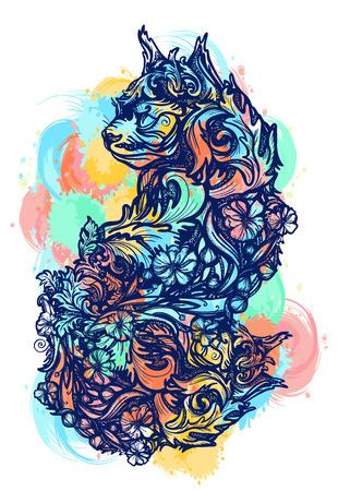 Magic cat color tattoo and t-shirt design. Ornamental cat, renaissance style, art nouveau. Cat water color splashes tattoo art Illustration