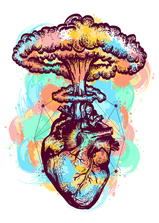 Nuclear explosion of anatomical heart color tattoo and t-shirt design surreal graphic. Heart and nuclear explosion tattoo art. Symbol of love, feelings, energy, water color splashes Vettoriali