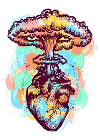 Explosión nuclear del tatuaje del color del corazón anatómico y diseño surrealista de la camiseta. Corazón y explosión nuclear arte del tatuaje. Símbolo de amor, sentimientos, energía, salpicaduras de color de agua