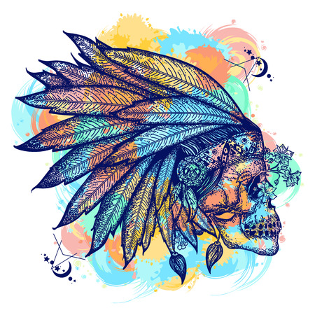 Indian skull color tattoo art. Warrior symbol. Native American indian feather headdress with human skull t-shirt design. Wild west water color splashes tattoo Illustration
