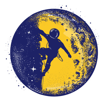 Astronaut color retro tattoo and t-shirt design. Astronaut on the moon. Spaceman new planets retro poster. Research symbol space, Universe. Brave astronaut at the spacewalk on the moon color tattoo Illustration