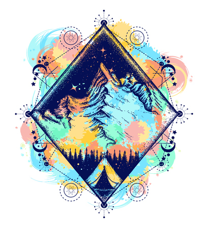 Tatuaggio da campeggio e design t-shirt. Simbolo del turismo, viaggi, avventure, meditazione, arrampicata, campeggio, grandi spazi aperti, spruzzi d'acqua. Tenda in montagna con design t-shirt Archivio Fotografico - 89056927