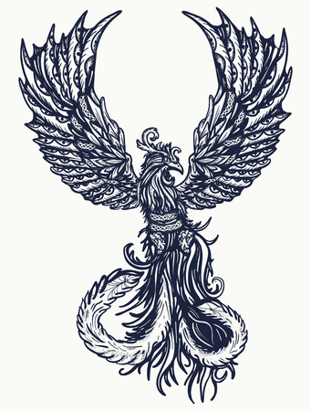 Magic heat birds tattoo and t-shirt design. Symbol of revival, regeneration, life and death. Phoenix bird tattoo