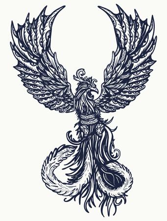 Magic heat birds tattoo and t-shirt design. Symbol of revival, regeneration, life and death. Phoenix bird tattoo