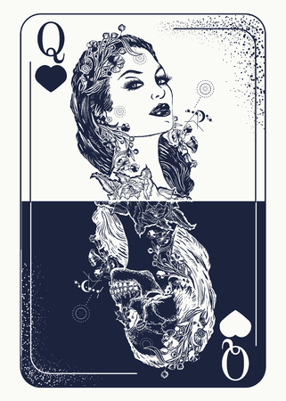 Queen playing card tattoo and t-shirt design. Beautiful girl and queen skeleton, Gothic playing card. Symbol of gamblings, tarot cards, success and defeat, casino, poker tattoo