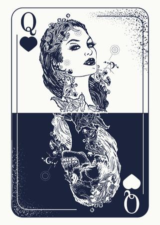 Spielkarten-Tätowierung der Königin und T-Shirt entwerfen. Schönes Mädchen und Königin Skelett, gotische Spielkarte. Symbol der Glücksspiele, Tarot-Karten, Erfolg und Niederlage, Casino, Poker Tattoo Vektorgrafik