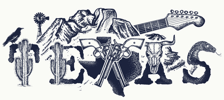 Texas tattoo and t-shirt design. Texas slogan. Mountains, revolvers, skull bison, cactus, guitar. American art. USA art, Symbol of prairies, wild west, blues music tattoo Illustration