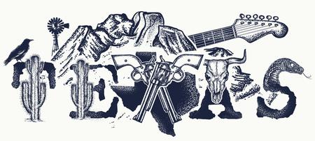 Texas tattoo en t-shirt ontwerp. Texas slogan. Bergen, revolvers, schedelbizon, cactus, gitaar. Amerikaanse kunst. Amerikaanse kunst, symbool van de prairies, het wilde westen, bluesmuziektattoo