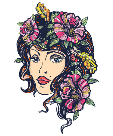 Autumn nature woman old school color tattoo. Art nouveau fall woman t-shirt design. Symbol of queen, princess, lady, elegance, glamour girl. Beautiful vintage art nouveau woman color tattoo