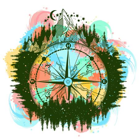 산 골동품 나침반과 바람 장미 색 문신 예술. 모험, 여행, 옥외, 상징. 예술 여행자, 등산객, 등산객. 밤 숲에 나침반 문신 물 색이 튀는 T 셔츠 디자인