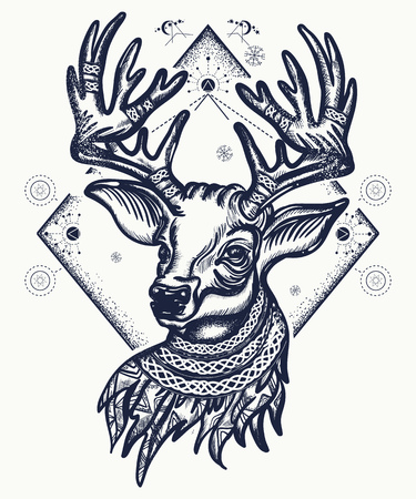 Deer tattoo and t-shirt design. Christmas reindeer. Symbol of winter, new year, Christmas. Beautiful reindeer portrait tattoo art Ilustracja