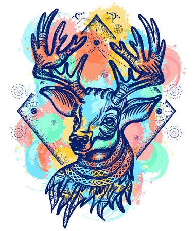 Deer color tattoo and t-shirt design. Christmas reindeer. Symbol of winter, new year, Christmas. Beautiful reindeer portrait water color splashes tattoo art Illustration
