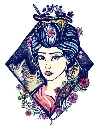 게이샤 문신과 티셔츠 디자인. 아시아, 일본, 중국의 상징입니다. 마이코 게이샤 문신 예술의 초상화 일러스트