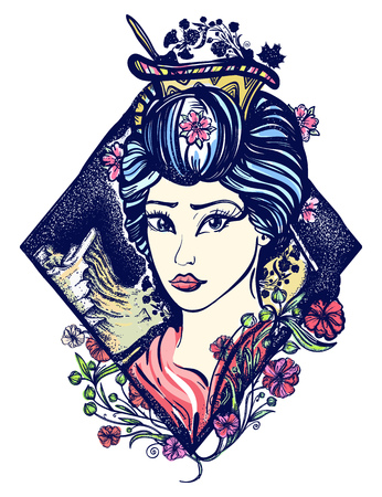Geisha tattoo and t-shirt design. Symbol of Asia, Japan, China. Portrait of Maiko geisha tattoo art