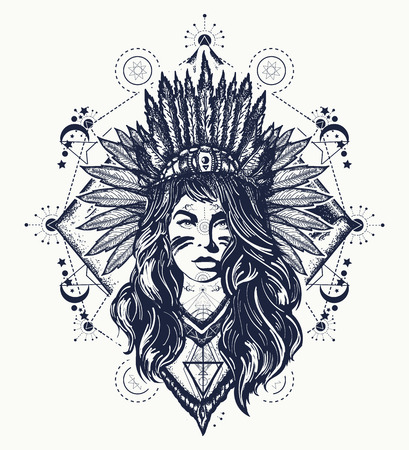 Tribal woman tattoo and t-shirt design.