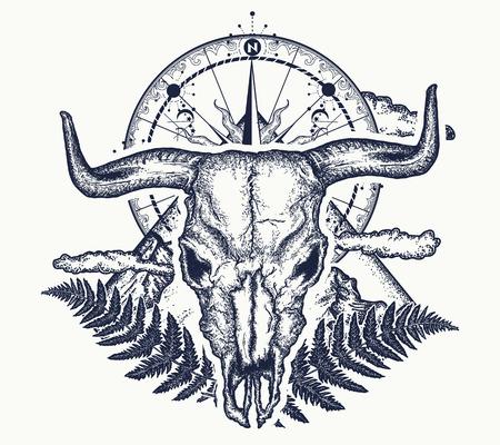 Bergen, kompas en stierenschedel tatoeage.