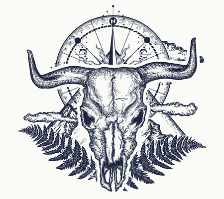 Mountains, compass and bull skull tattoo. Ilustrace