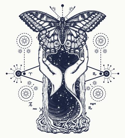 空間時間の蝶の入れ墨の概念と砂時計。