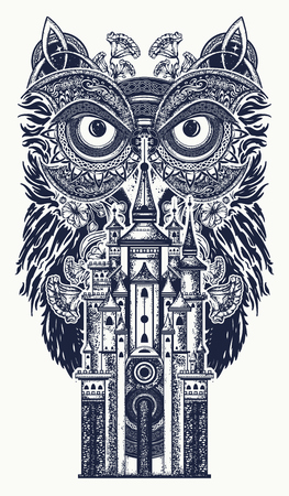Owl and magic castle tattoo art.