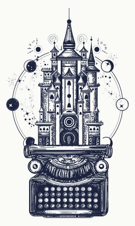 Typewriter and magic castle tattoo. Vectores