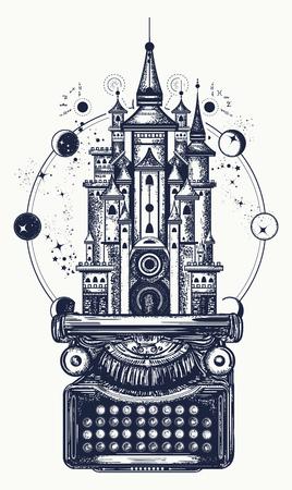 Typewriter and magic castle tattoo. Vettoriali