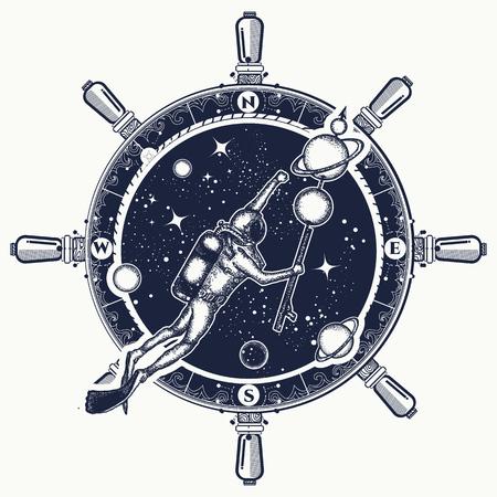 Astronaut in diep ruimtet-shirtontwerp. Stock Illustratie