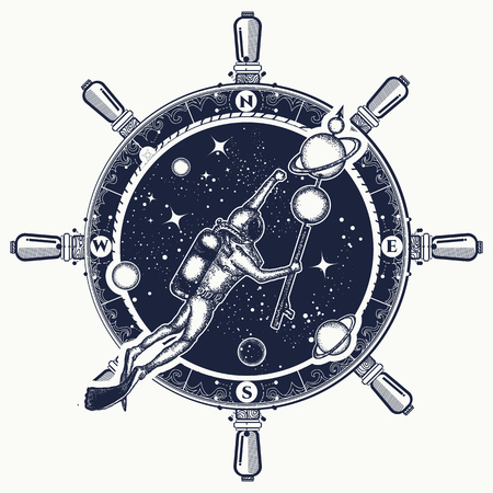 Astronaut in deep space t-shirt design.
