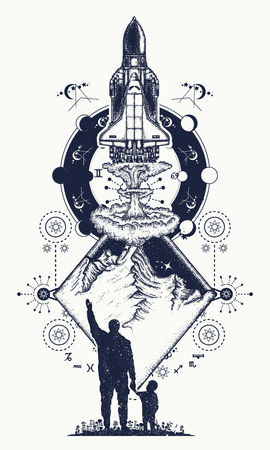 Space shuttle and mountains tattoo art.