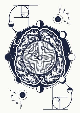 Labyrinthe de cerveau et art de tatouage de rapport d'or. Banque d'images - 90458526