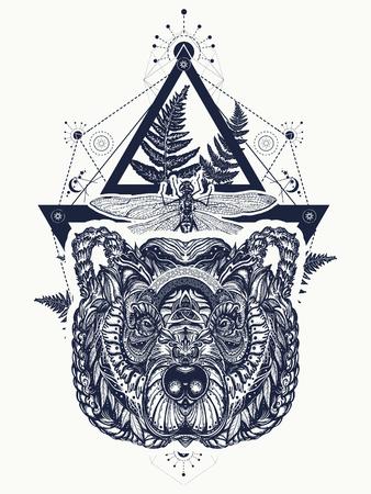 Beer en libelle heilige geometrie tatoeage en t-shirt ontwerp.