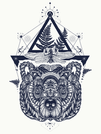 Bear and dragonfly sacred geometry tattoo and t-shirt design. Vettoriali