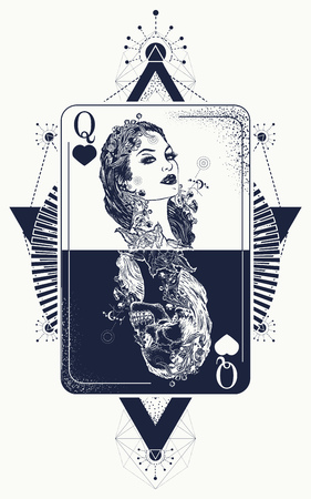 Queen in card tattoo and t-shirt design.