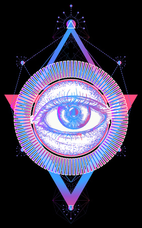 Magisch oog t-shirt ontwerp Stock Illustratie