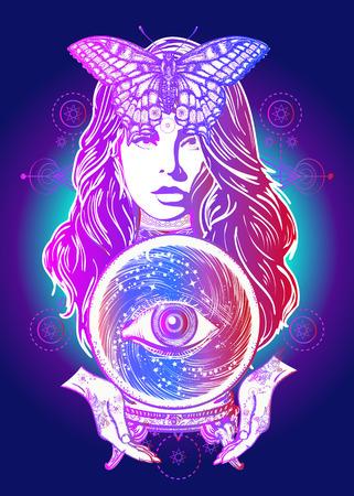 Magic woman tattoo art design