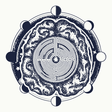Symbol of philosophy, artificial intelligence, psychology, creative thinking design