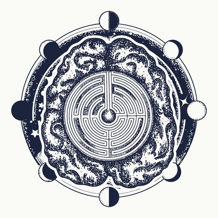 Symbool van filosofie, kunstmatige intelligentie, psychologie, creatief denkontwerp