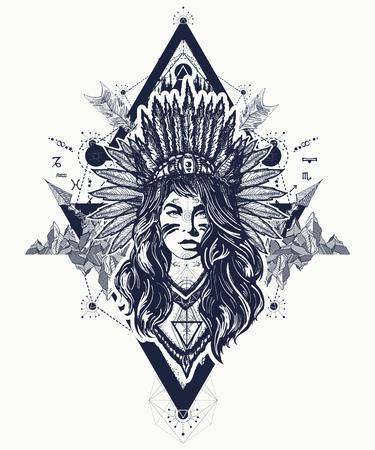 아메리카 원주민 여자 문신 예술입니다.