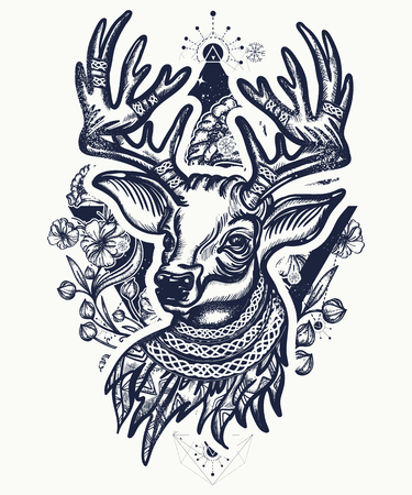 Christmas deer and art nouveau flowers tattoo and t-shirt design. Vectores