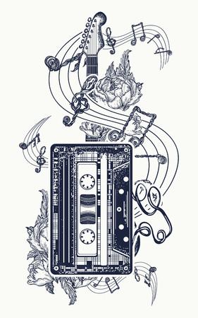 Oude audiocassette, rozenbloemen en muzieknota's, gitaar, symbool van het ontwerp van de rockmuziekt-shirt