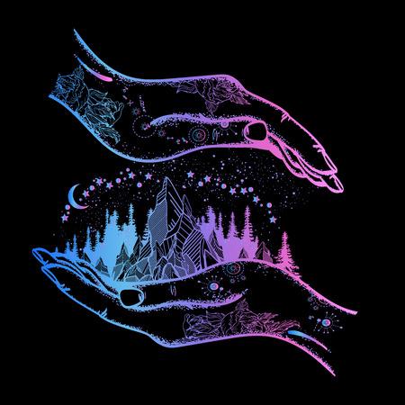 手で山のタトゥーや t シャツのデザインです。