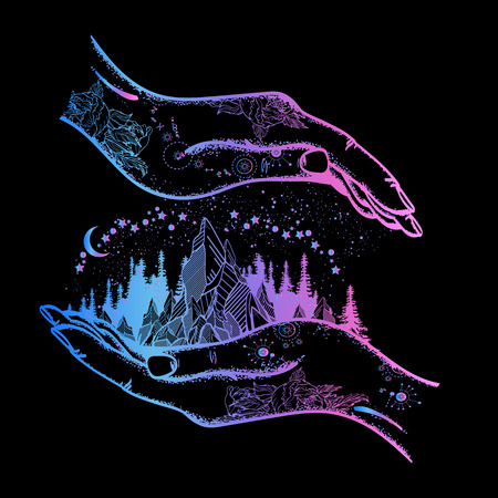 Hand and mountains tattoo and t-shirt design.