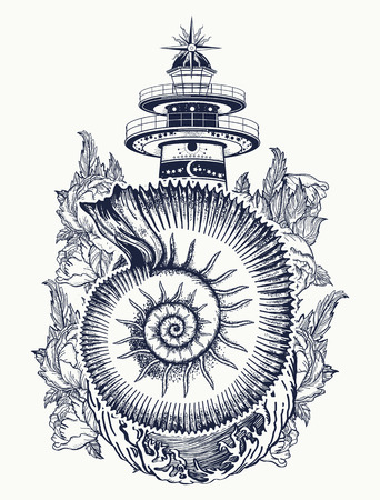 Lighthouse in the storm and ammonite t-shirt design Illustration