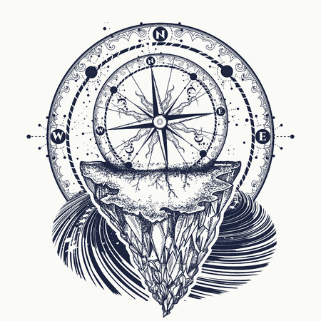 Compass and mountains tattoo and t-shirt design. Vettoriali