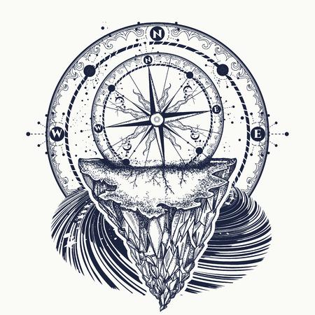 Disegno di bussola e montagne tatuaggio e t-shirt. Vettoriali